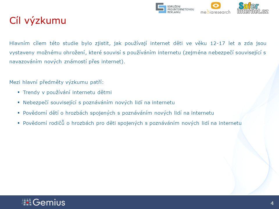 2525 2525 25 Zdroj: gemiusAdHoc, leden 2009 Povědomí dětí o nebezpečí, které souvisí s poskytováním osobních údajů na internetu Myslíte si, že poskytování osobních údajů (jako je adresa nebo telefonní číslo) cizím lidem z internetu je nebezpečné.
