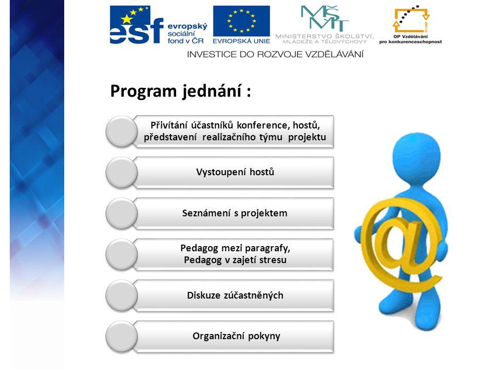 Program jednání : Přivítání účastníků konference, hostů, představení realizačního týmu projektu Vystoupení hostů Seznámení s projektem Pedagog mezi pa