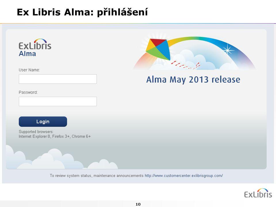 10 Ex Libris Alma: přihlášení