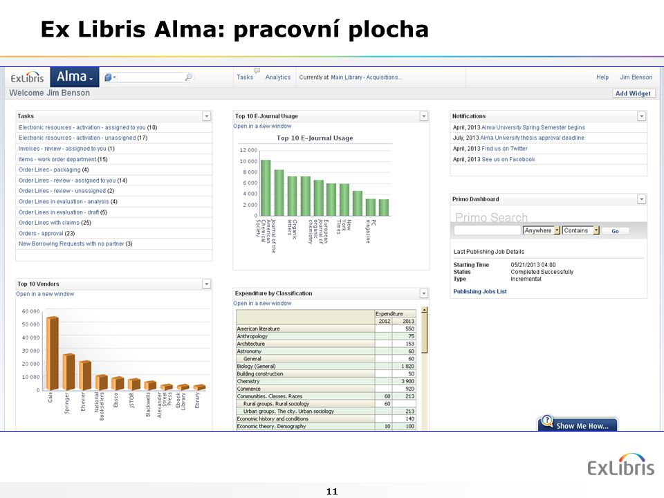 11 Ex Libris Alma: pracovní plocha