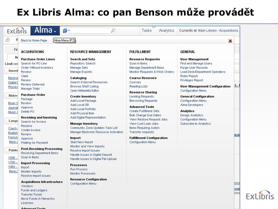 12 Ex Libris Alma: co pan Benson může provádět