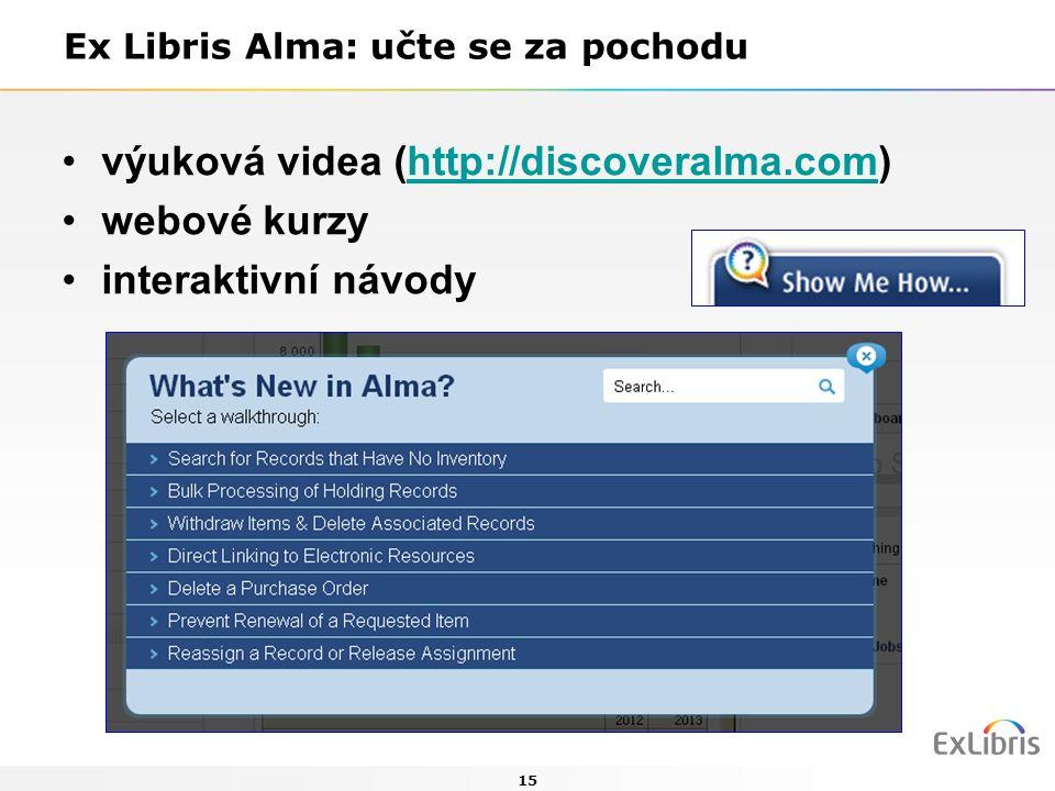 15 Ex Libris Alma: učte se za pochodu výuková videa (http://discoveralma.com)http://discoveralma.com webové kurzy interaktivní návody