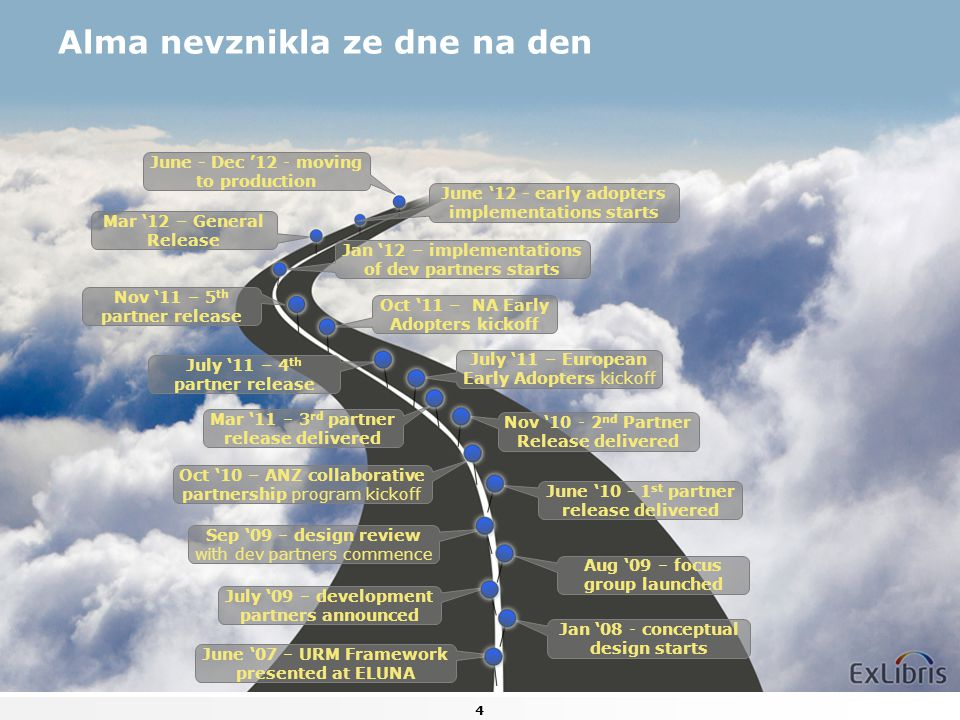 4 Alma nevznikla ze dne na den Jan '08 - conceptual design starts July '09 – development partners announced Oct '10 – ANZ collaborative partnership pr