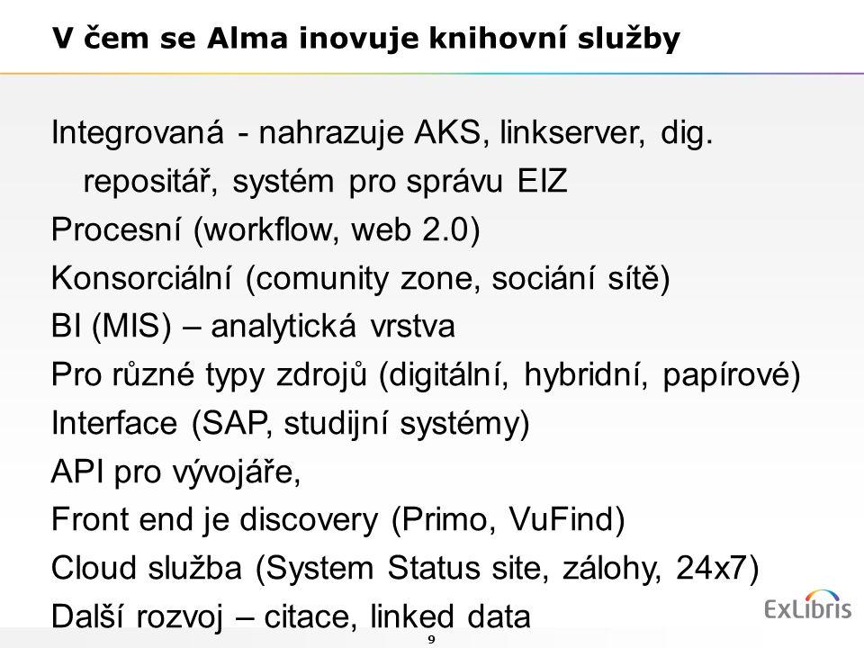 9 V čem se Alma inovuje knihovní služby Integrovaná - nahrazuje AKS, linkserver, dig. repositář, systém pro správu EIZ Procesní (workflow, web 2.0) Ko