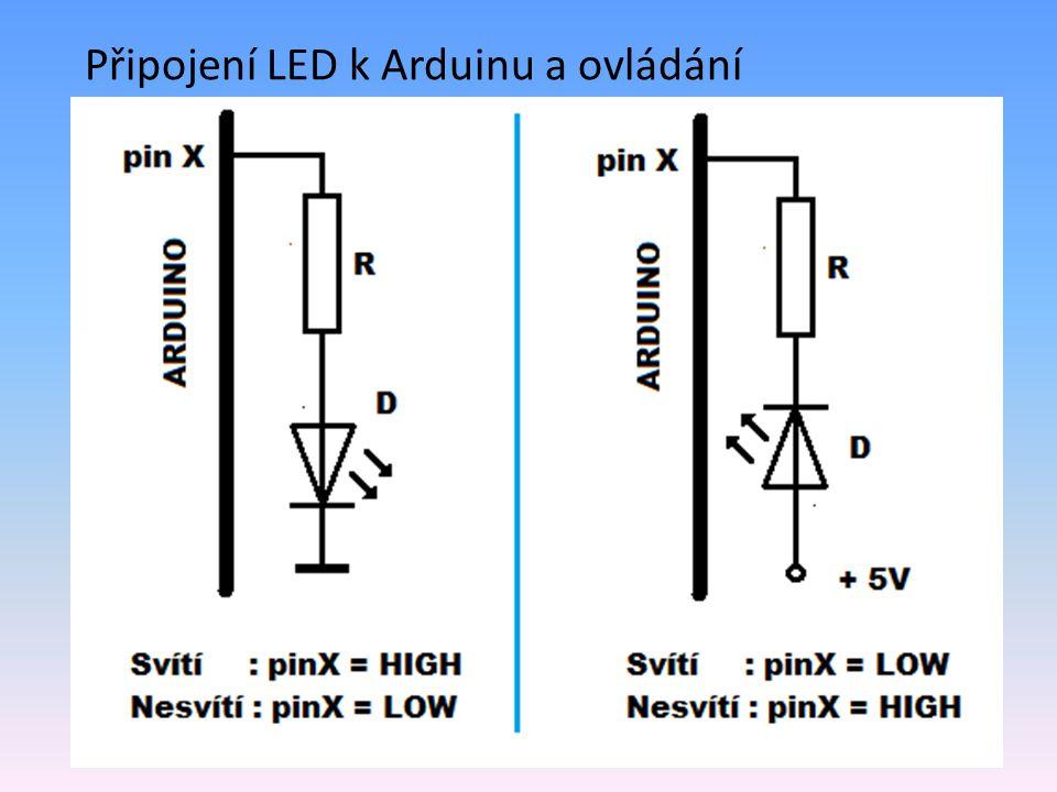 void loop { for ( int Radek =0 ; Radek < 10; Radek++)// postupný průchod tabulkou {for ( int Sloupec =0 ; Sloupec < 6; Sloupec++)//po řádcích { Index = Radek * 6 + Sloupec ;//převod na pozici v poli if (LedPole [Index]==1) {digitalWrite(Sloupec + 8, HIGH); }//zobrazení else {digitalWrite(Sloupec + 8, LOW; } } delay(500); }