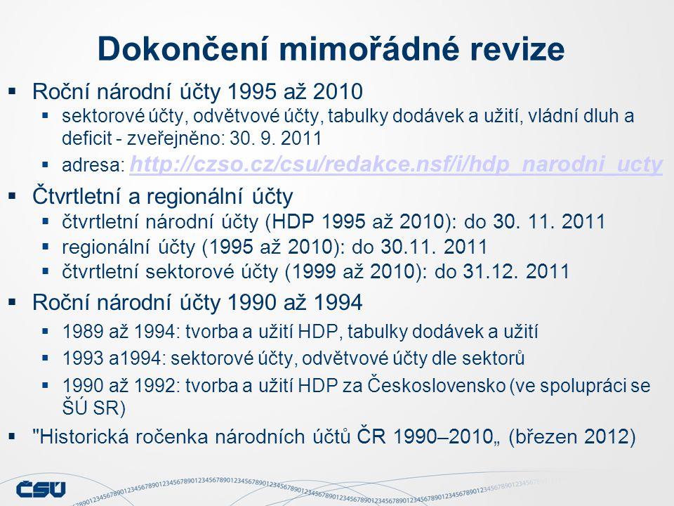 Dokončení mimořádné revize  Roční národní účty 1995 až 2010  sektorové účty, odvětvové účty, tabulky dodávek a užití, vládní dluh a deficit - zveřejněno: 30.
