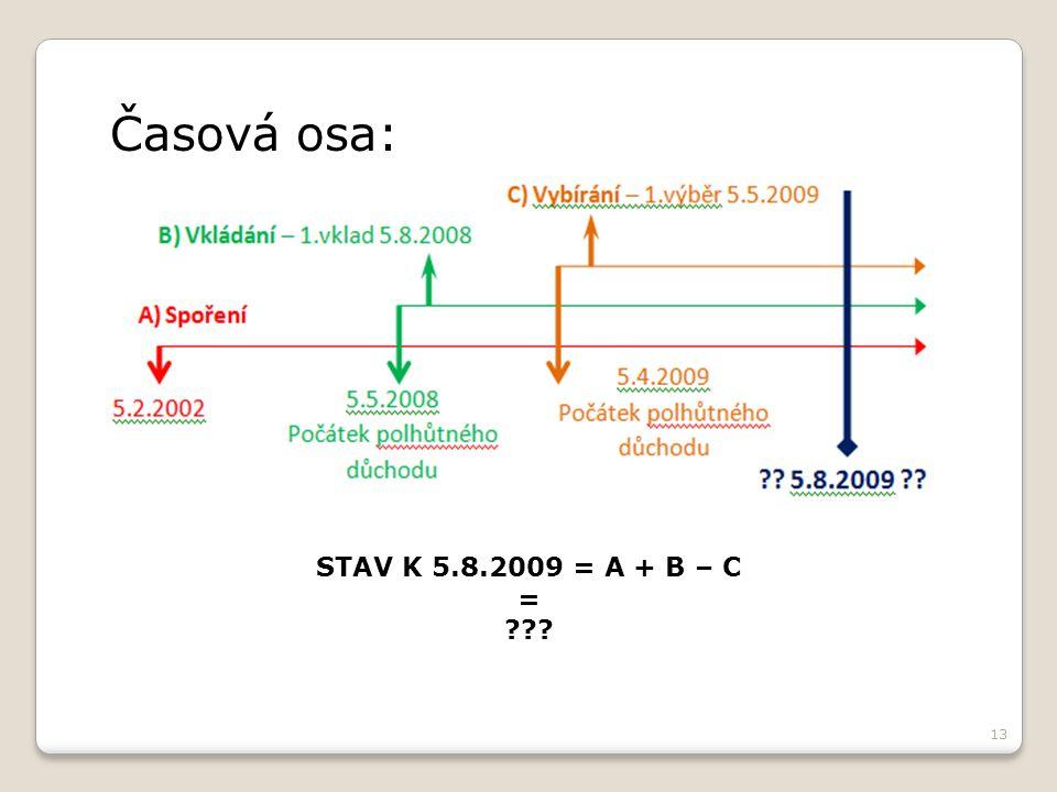 13 Časová osa: STAV K 5.8.2009 = A + B – C =