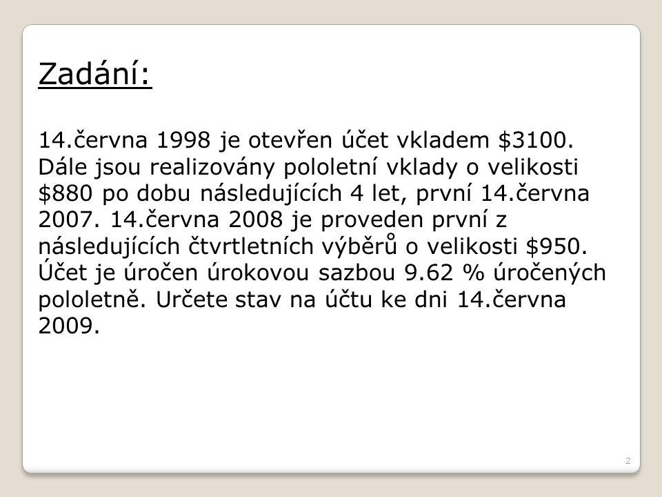 Zadání: 14.června 1998 je otevřen účet vkladem $3100.