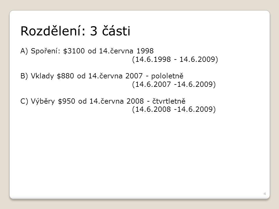 4 Rozdělení: 3 části A) Spoření: $3100 od 14.června 1998 (14.6.1998 - 14.6.2009) B) Vklady $880 od 14.června 2007 - pololetně (14.6.2007 -14.6.2009) C) Výběry $950 od 14.června 2008 - čtvrtletně (14.6.2008 -14.6.2009)