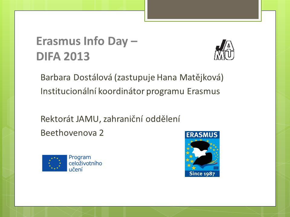 Erasmus Info Day – DIFA 2013 Barbara Dostálová (zastupuje Hana Matějková) Institucionální koordinátor programu Erasmus Rektorát JAMU, zahraniční odděl