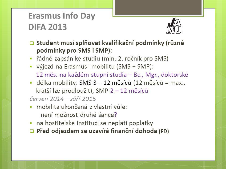 Erasmus Info Day DIFA 2013  Student musí splňovat kvalifikační podmínky (různé podmínky pro SMS i SMP):  řádně zapsán ke studiu (min.