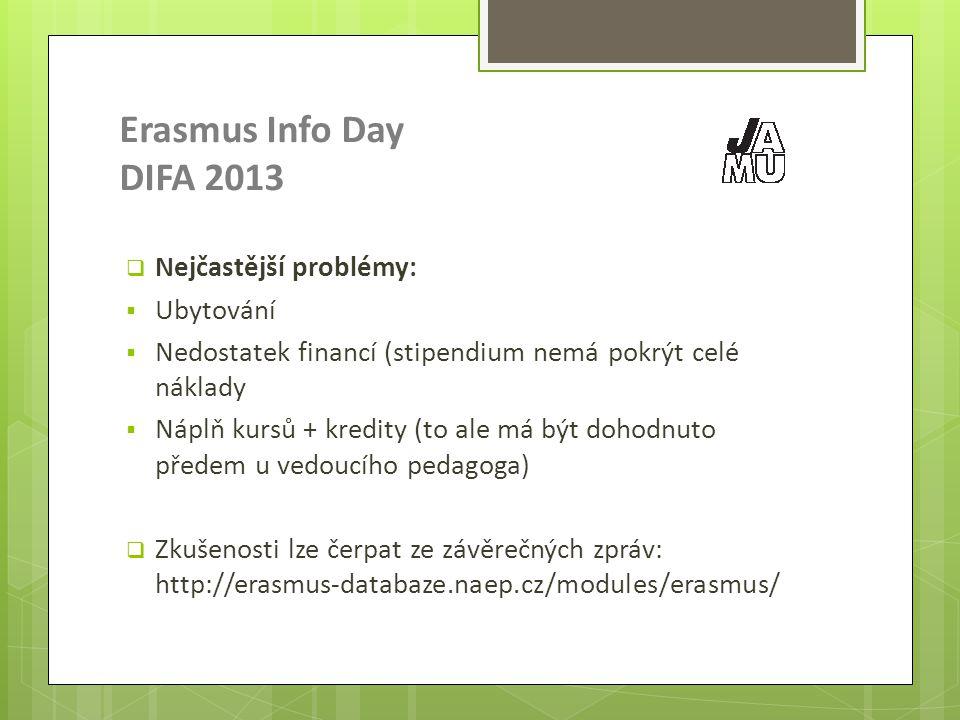 Erasmus Info Day DIFA 2013  Nejčastější problémy:  Ubytování  Nedostatek financí (stipendium nemá pokrýt celé náklady  Náplň kursů + kredity (to ale má být dohodnuto předem u vedoucího pedagoga)  Zkušenosti lze čerpat ze závěrečných zpráv: http://erasmus-databaze.naep.cz/modules/erasmus/