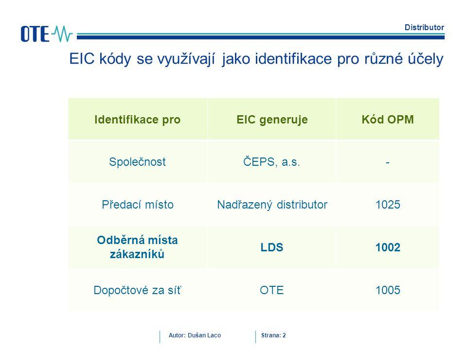 Distributor Autor: Dušan Laco Strana: 2 EIC kódy se využívají jako identifikace pro různé účely Identifikace proEIC generujeKód OPM SpolečnostČEPS, a.