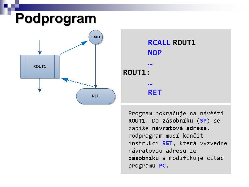 Podprogram RCALLROUT1 NOP … ROUT1: … RET Program pokračuje na návěští ROUT1. Do zásobníku (SP) se zapíše návratová adresa. Podprogram musí končit inst