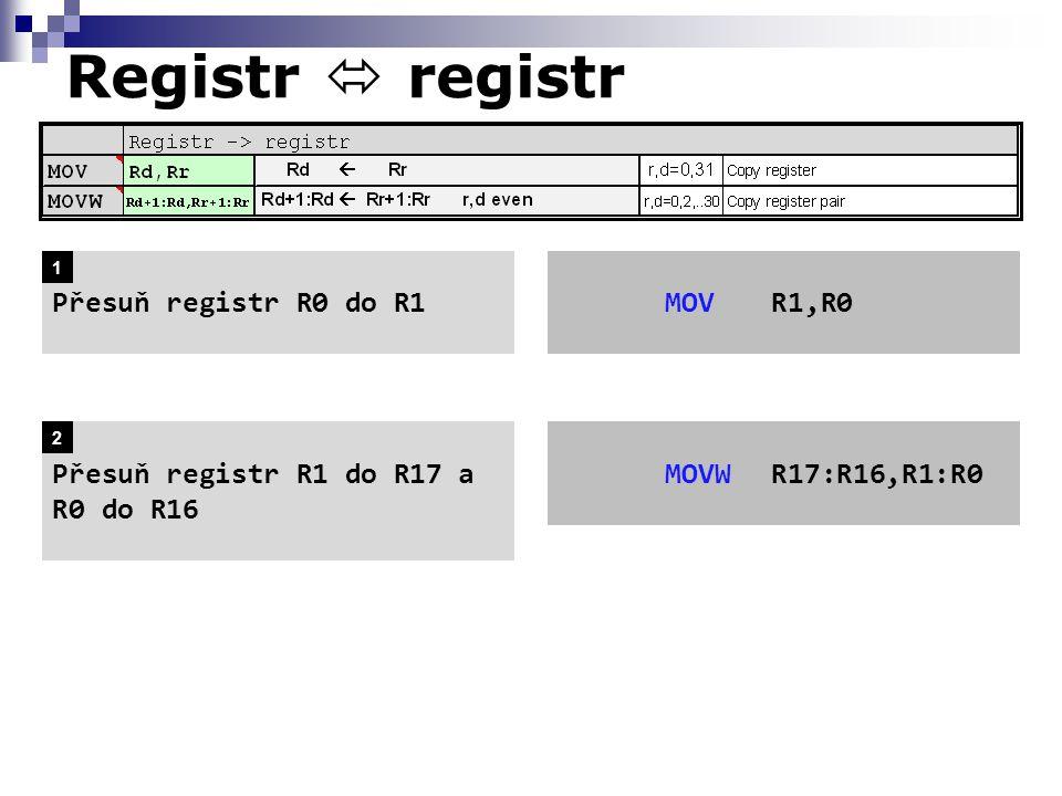 MOVR1,R0Přesuň registr R0 do R1 Přesuň registr R1 do R17 a R0 do R16 MOVWR17:R16,R1:R0 1 2 Registr  registr