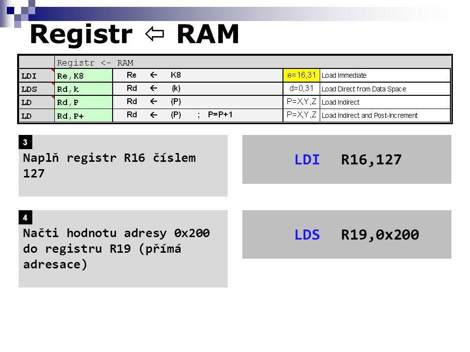 Registr  RAM LDIR16,127 Naplň registr R16 číslem 127 LDSR19,0x200 Načti hodnotu adresy 0x200 do registru R19 (přímá adresace) 3 4