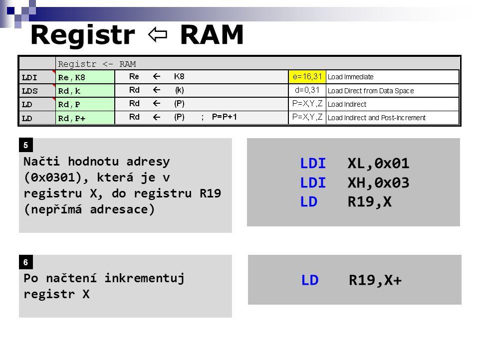 Registr  RAM LDIXL,0x01 LDIXH,0x03 LDR19,X Načti hodnotu adresy (0x0301), která je v registru X, do registru R19 (nepřímá adresace) Po načtení inkrementuj registr X LDR19,X+ 5 6