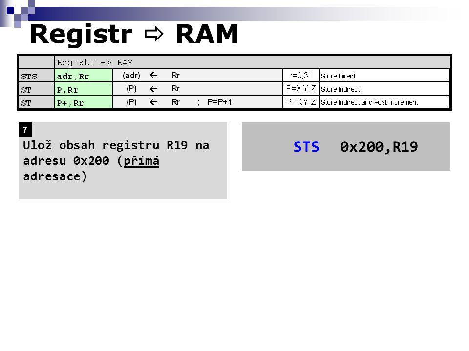 Registr  RAM STS0x200,R19 Ulož obsah registru R19 na adresu 0x200 (přímá adresace) 7