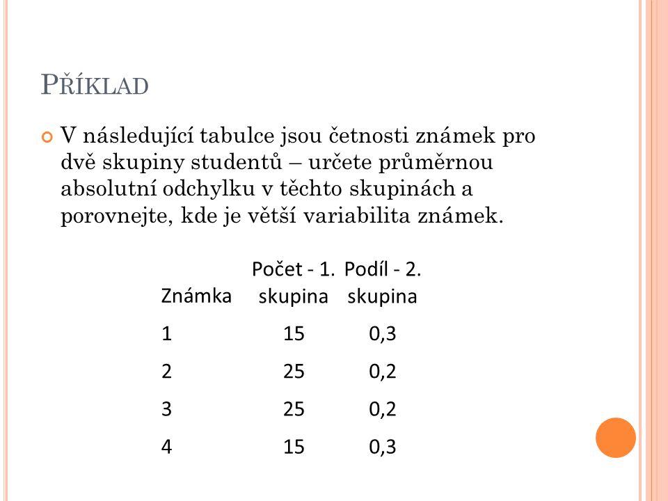 P ŘÍKLAD V následující tabulce jsou četnosti známek pro dvě skupiny studentů – určete průměrnou absolutní odchylku v těchto skupinách a porovnejte, kd