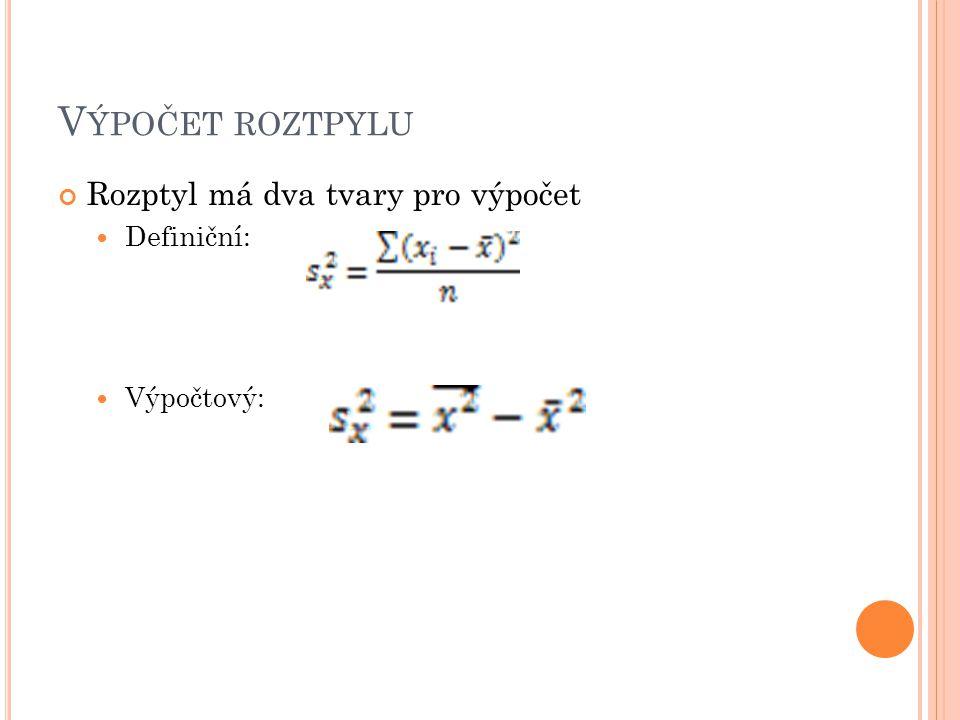 V ÝPOČET ROZTPYLU Rozptyl má dva tvary pro výpočet Definiční: Výpočtový: