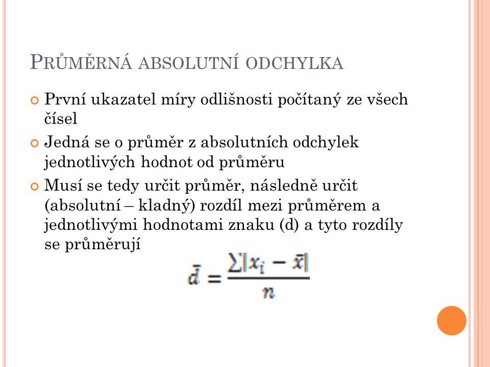 P RŮMĚRNÁ ABSOLUTNÍ ODCHYLKA První ukazatel míry odlišnosti počítaný ze všech čísel Jedná se o průměr z absolutních odchylek jednotlivých hodnot od pr