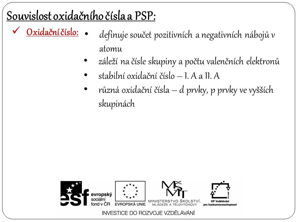 Souvislost oxidačního čísla a PSP: Oxidační číslo: záleží na čísle skupiny a počtu valenčních elektronů stabilní oxidační číslo – I. A a II. A různá o