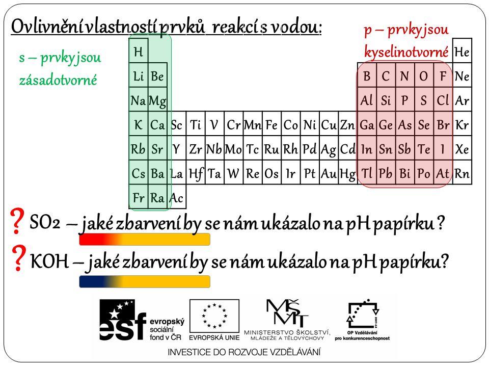Ovlivnění vlastností prvků reakcí s vodou: s – prvky jsou zásadotvorné ? SO2 ? KOH H He LiBe BCNOFNe NaMg AlSiPSClAr KCaScTiVCrMnFeCoNiCuZnGaGeAsSeBrK