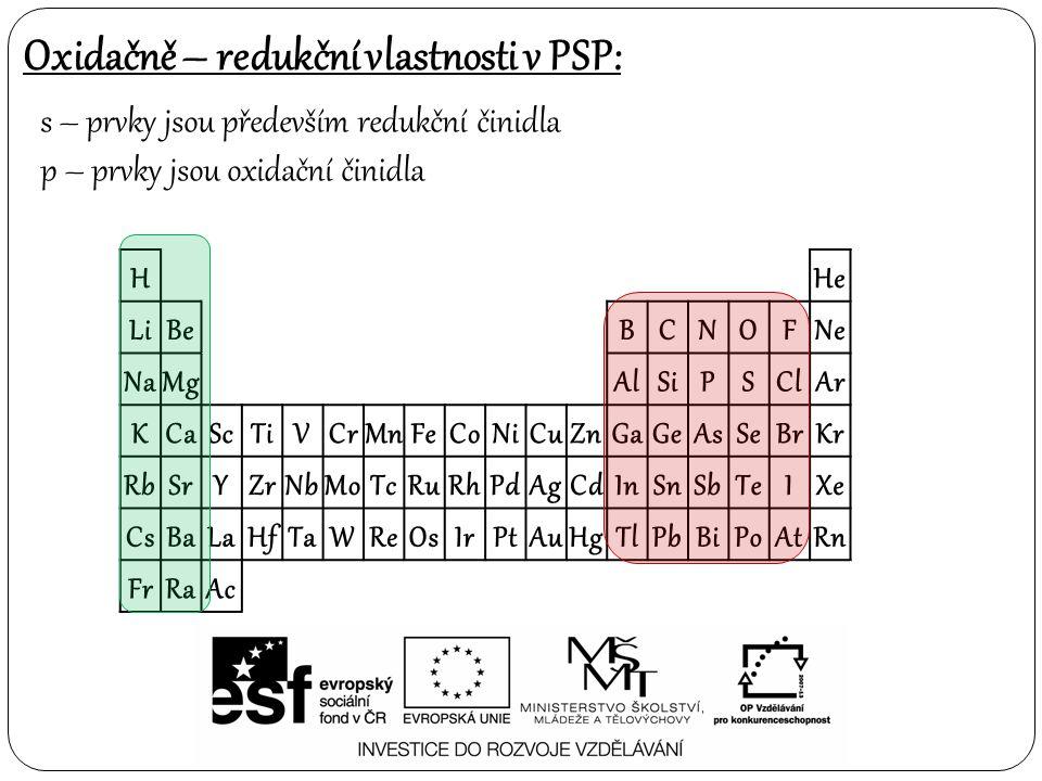 Oxidačně – redukční vlastnosti v PSP: s – prvky jsou především redukční činidla p – prvky jsou oxidační činidla H He LiBe BCNOFNe NaMg AlSiPSClAr KCaS
