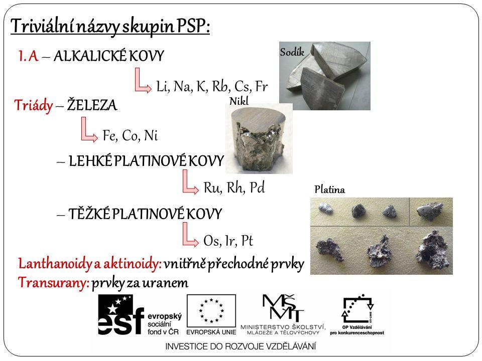 Triviální názvy skupin PSP: I. A – ALKALICKÉ KOVY Li, Na, K, Rb, Cs, Fr Lanthanoidy a aktinoidy: vnitřně přechodné prvky Transurany: prvky za uranem T