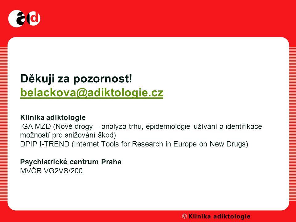 Děkuji za pozornost! belackova@adiktologie.cz Klinika adiktologie IGA MZD (Nové drogy – analýza trhu, epidemiologie užívání a identifikace možností pr