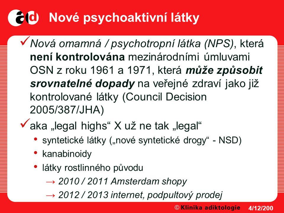 Nové psychoaktivní látky Nová omamná / psychotropní látka (NPS), která není kontrolována mezinárodními úmluvami OSN z roku 1961 a 1971, která může způ