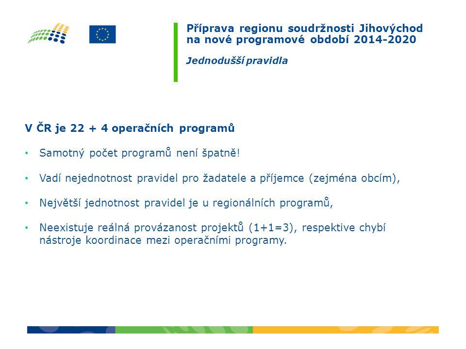 Příprava regionu soudržnosti Jihovýchod na nové programové období 2014-2020 Jednodušší pravidla V ČR je 22 + 4 operačních programů Samotný počet programů není špatně.