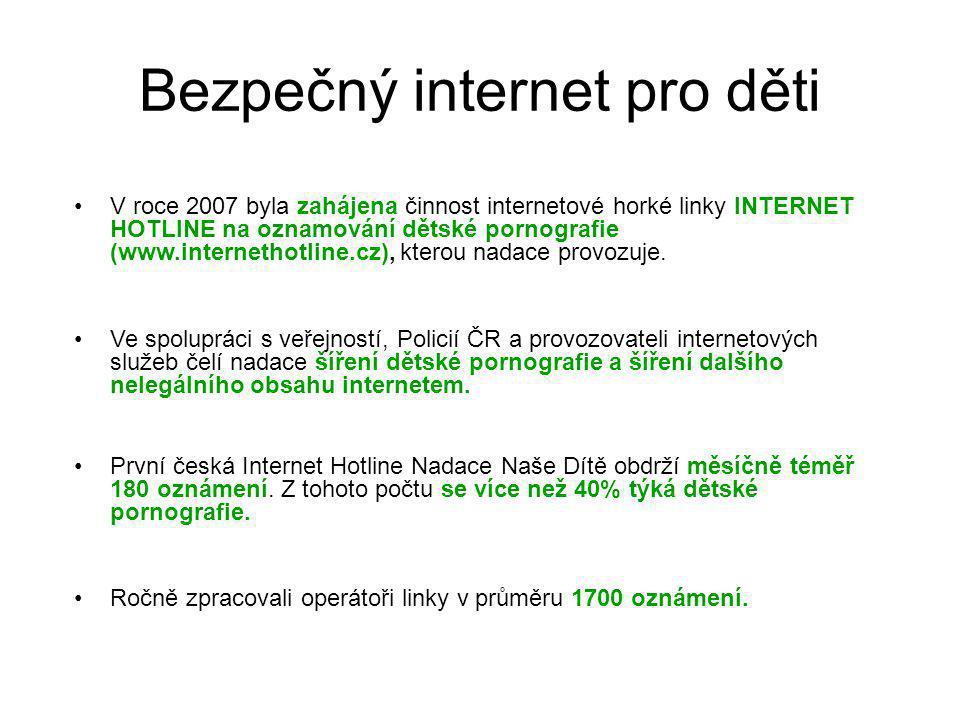 Bezpečný internet pro děti V roce 2007 byla zahájena činnost internetové horké linky INTERNET HOTLINE na oznamování dětské pornografie (www.internetho