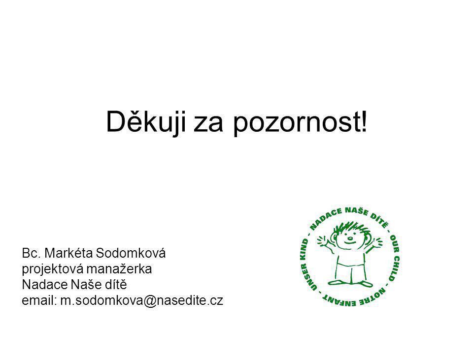 Děkuji za pozornost! Bc. Markéta Sodomková projektová manažerka Nadace Naše dítě email: m.sodomkova@nasedite.cz