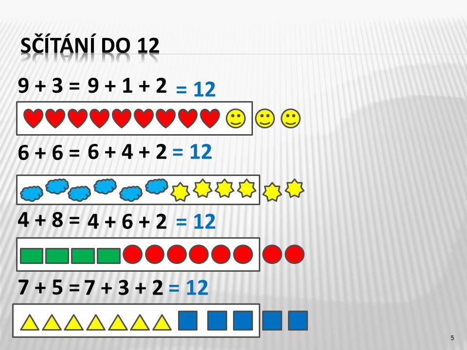 9 + 3 = 6 + 6 = 4 + 8 = 7 + 5 = 5 9 + 1 + 2 6 + 4 + 2 4 + 6 + 2 7 + 3 + 2 = 12
