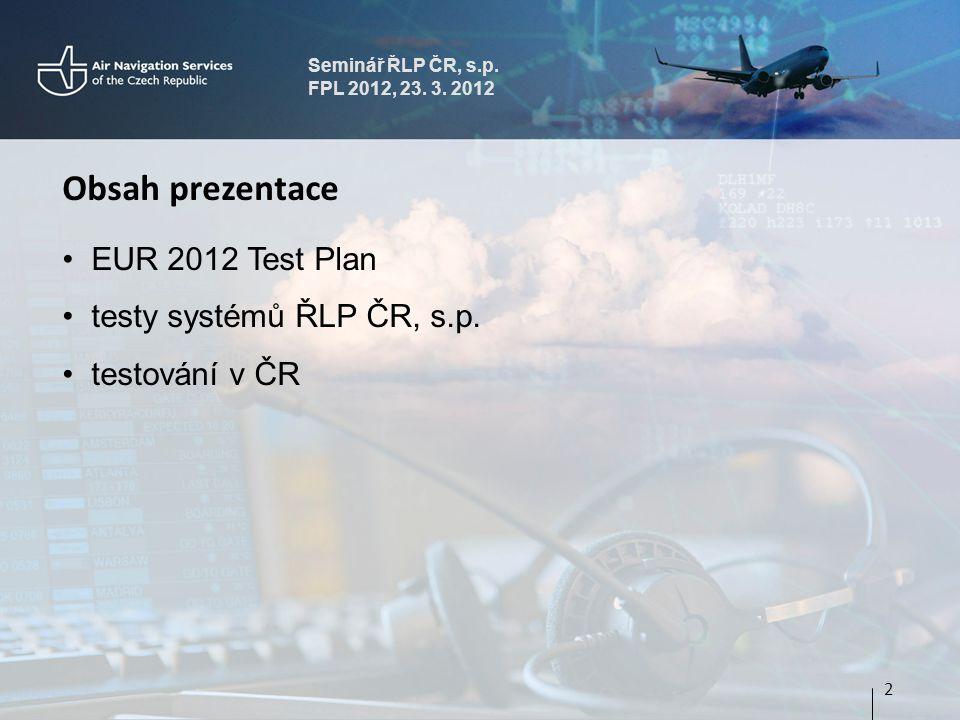 Seminář ŘLP ČR, s.p.FPL 2012, 23. 3. 2012 EUR 2012 test plan dokument EUROCONTROL edice 1.1, 12.