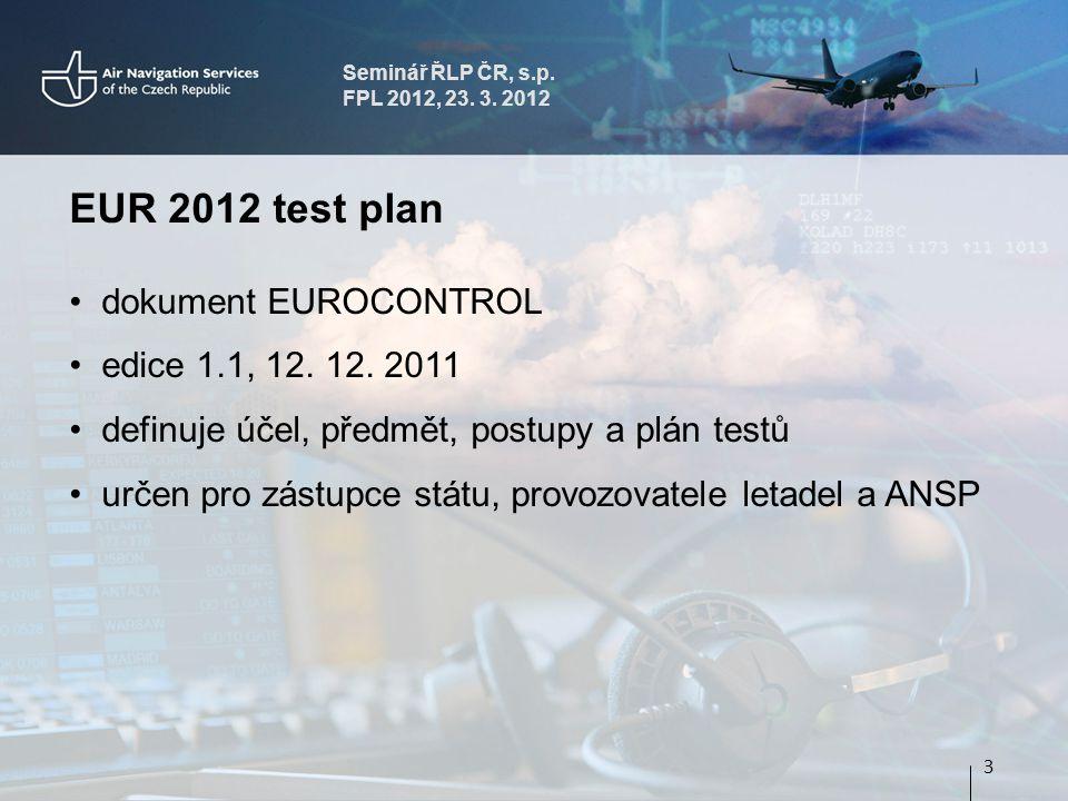 Seminář ŘLP ČR, s.p. FPL 2012, 23. 3. 2012 EUR 2012 test plan dokument EUROCONTROL edice 1.1, 12.