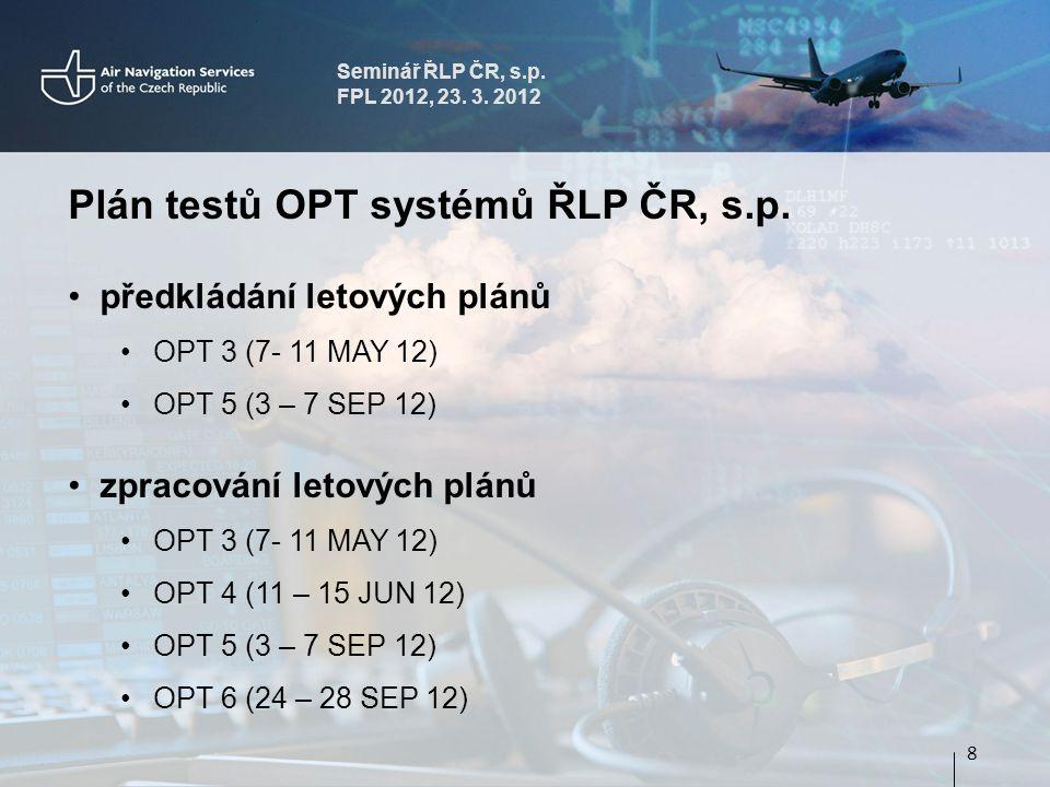 Seminář ŘLP ČR, s.p. FPL 2012, 23. 3. 2012 Plán testů OPT systémů ŘLP ČR, s.p.
