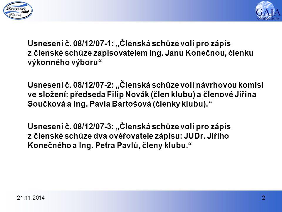21.11.20142 Usnesení č.