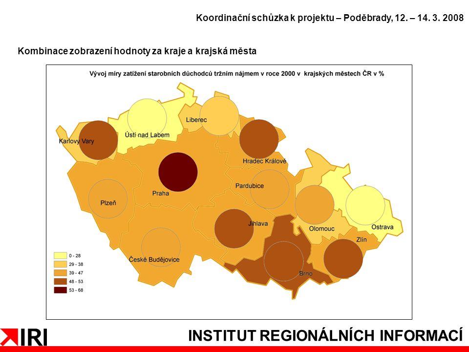 INSTITUT REGIONÁLNÍCH INFORMACÍ Kombinace zobrazení hodnoty za kraje a krajská města Koordinační schůzka k projektu – Poděbrady, 12.