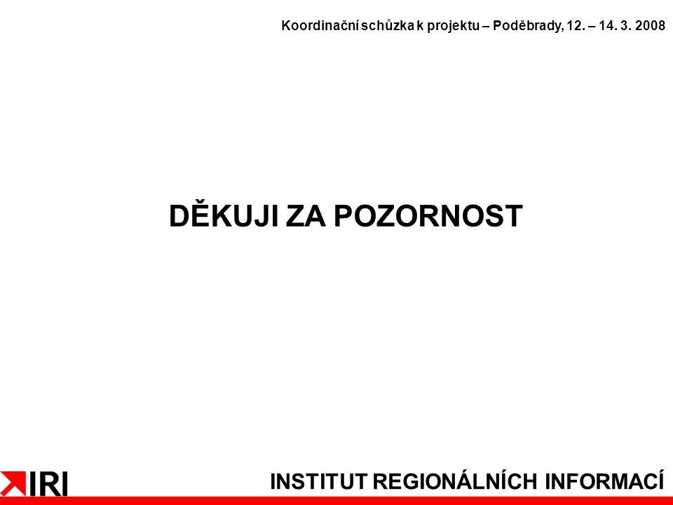 INSTITUT REGIONÁLNÍCH INFORMACÍ DĚKUJI ZA POZORNOST Koordinační schůzka k projektu – Poděbrady, 12.