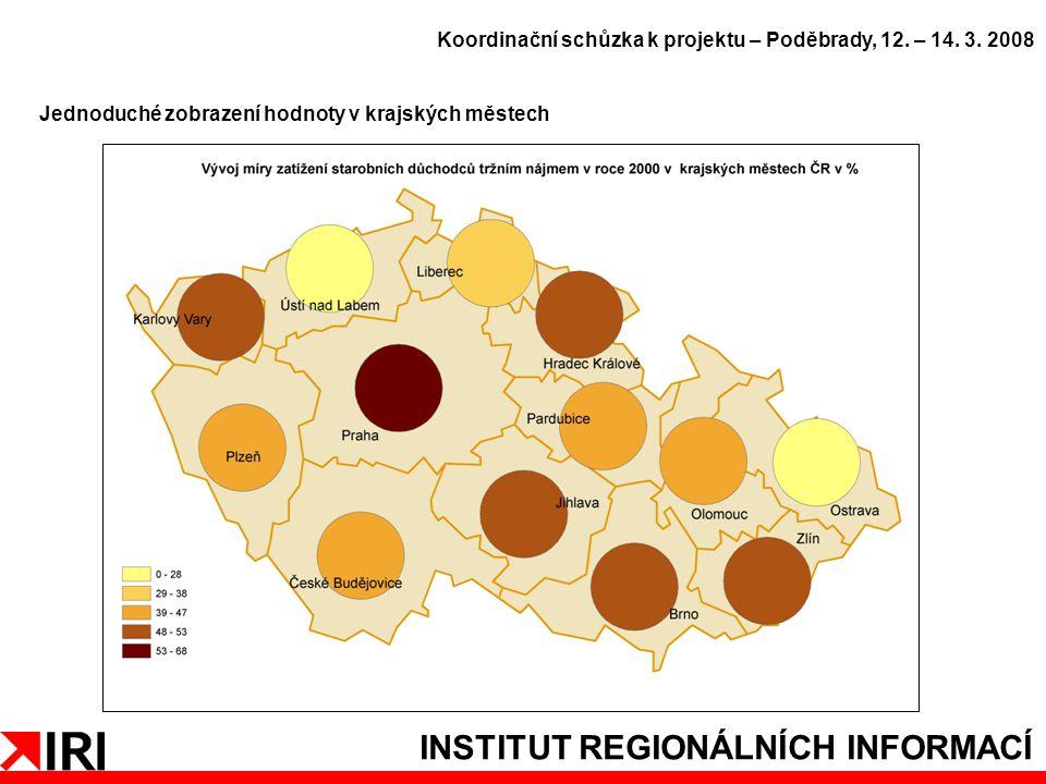 INSTITUT REGIONÁLNÍCH INFORMACÍ Jednoduché zobrazení hodnoty v krajských městech Koordinační schůzka k projektu – Poděbrady, 12.