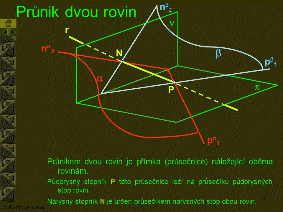 4 Průnik dvou rovin Průnikem dvou rovin je přímka (průsečnice) náležející oběma rovinám. Půdorysný stopník P této průsečnice leží na průsečíku půdorys