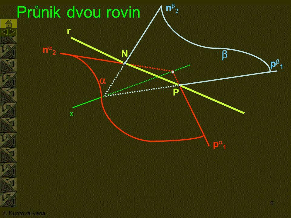 5 Průnik dvou rovin n2n2 p1p1 nn  p1p1 r N P  x © Kuntová Ivana