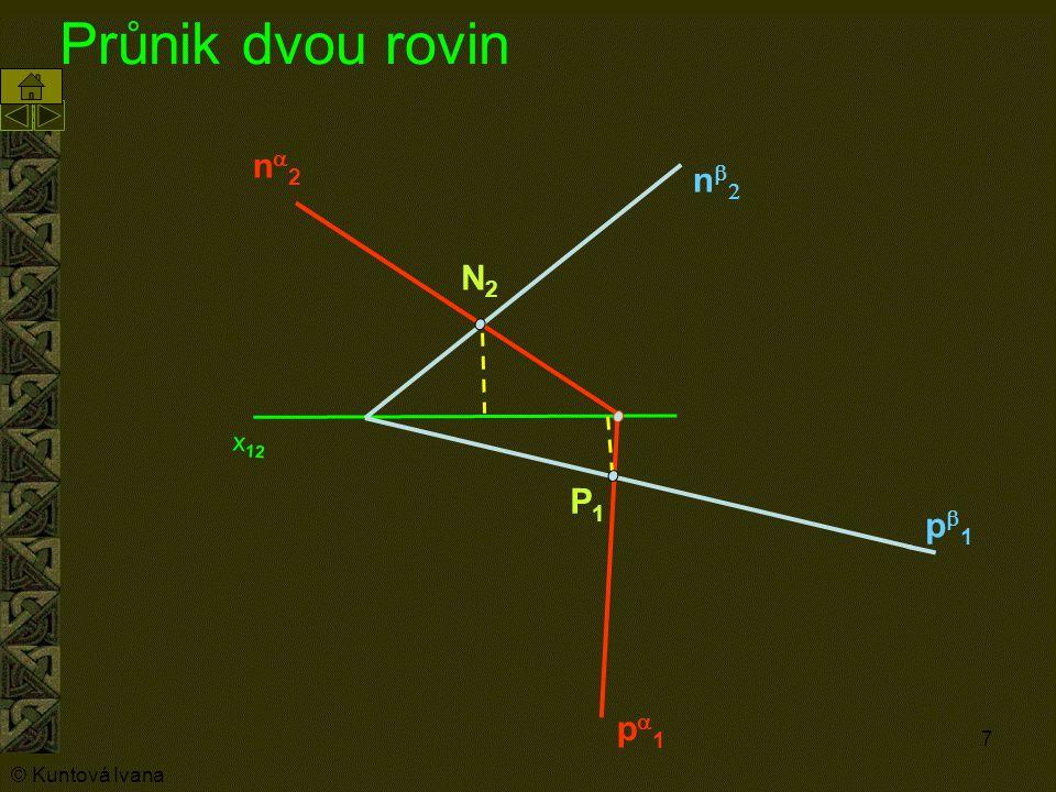 7 Průnik dvou rovin n2n2 p1p1 nn p1p1 N2N2 P1P1 x 12 © Kuntová Ivana