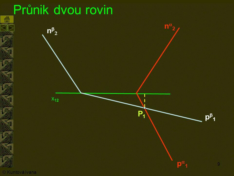 9 Průnik dvou rovin n2n2 p1p1 nn p1p1 P1P1 x 12 © Kuntová Ivana