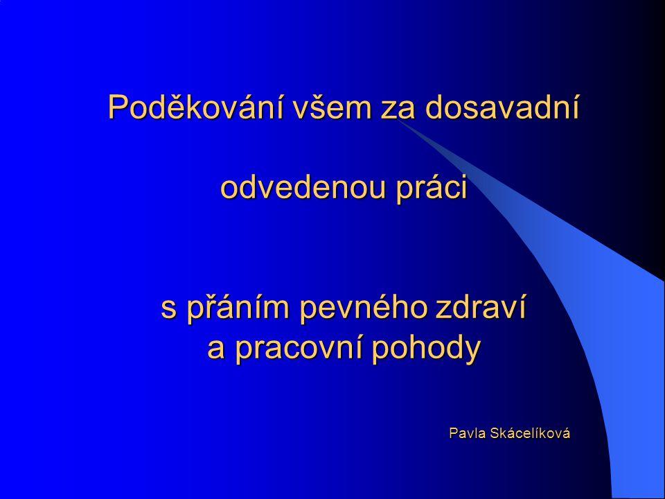 Poděkování všem za dosavadní odvedenou práci s přáním pevného zdraví a pracovní pohody Pavla Skácelíková