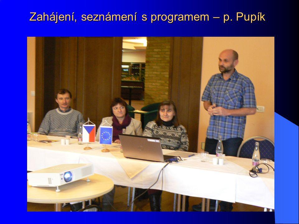 Zahájení, seznámení s programem – p. Pupík