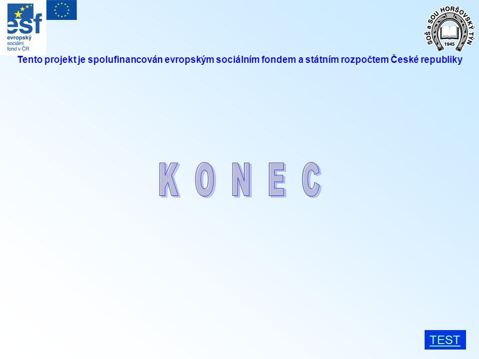 TEST Tento projekt je spolufinancován evropským sociálním fondem a státním rozpočtem České republiky