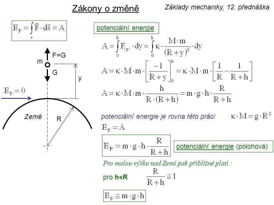 potenciální energie Zákony o změně y F F = k·y k - tuhost potenciální energie (deformační) - délka nosníku, E - modul pružnosti v tahu J - moment setrvačnosti Potenciální energie nemusí být spojena vždy jen s polohou hmotného objektu nad povrchem Země.